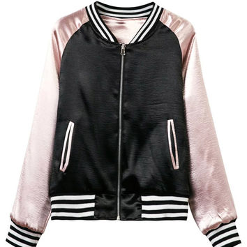 Color Block Striped Trims Metallic Reversible Bomber Jacket