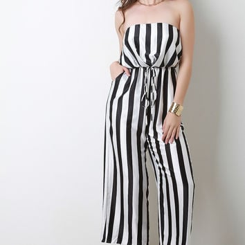 Striped Satin Strapless Wide Leg Jumpsuit
