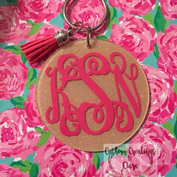 Glitter Monogram Keychain - Personalized - Key Chain - Monogram Key Chain - Glitter - Any Color - Perfect Gift - Preppy - Custom - Initial