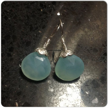 #Aqua #Chalcedony 5 #Carat #Earrings #Tear #Drop Earrings #Gemstone Earrings on #Sterling #Silver #Ear #Wires #Prom #Hypoallergenic Earrings