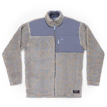 Blue Ridge Sherpa Jacket in Brown and French Blue by Southern Marsh - FINAL SALE