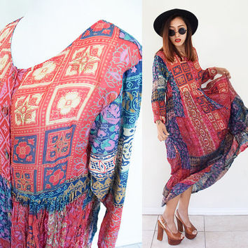 Vintage 70's pleated wrinkle button down tribal ethnic red blue tribe hippie boho bohemian maxi