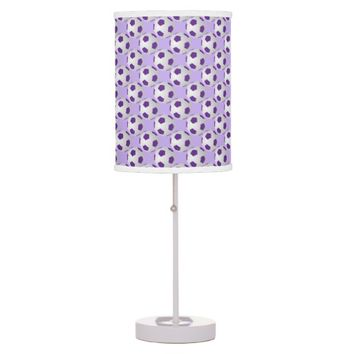 Soccer Ball Table Lamp, Purple and White Table Lamp