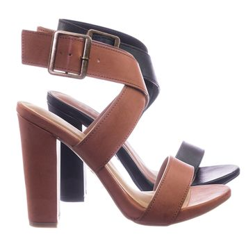 Lemonlight08 Retro Block Heel Wraparound Ankle Strap Open Toe Women Sandal
