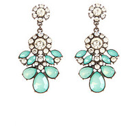 Mint Green Teardrop Gem Drop Earrings
