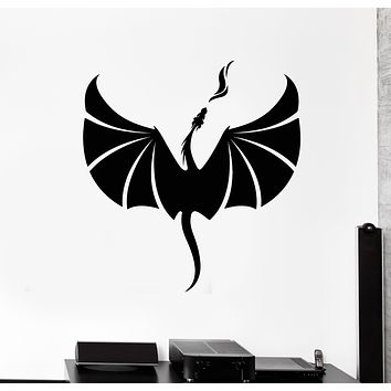 Vinyl Wall Decal Dragon Abstract Art Flying Fire Fantasy Stickers Mural (g440)