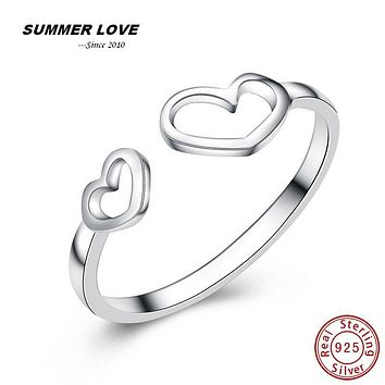 Sterling silver jewelry heart love sterling silver rings for girls gift sterling-silver-jewelry love ring dropshipping 2017