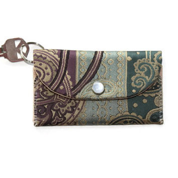 Keychain Wallet & ID Holder, Jewel Toned Blue Teal and Purple