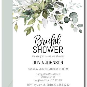 Greenery Bridal Shower Invitation