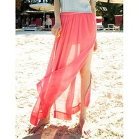 Bqueen Red Long Skirt with Splits BY165R - Designer Shoes|Bqueenshoes.com