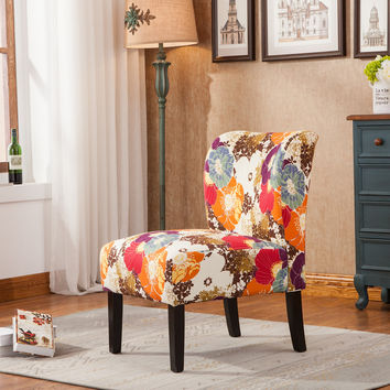 Roundhill Furniture Capa Print Fabric Armless Contemporary Accent Chair Desert Flower