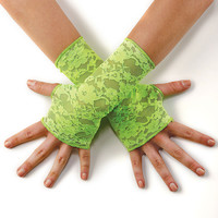 Bright Neon Stretch Lace Fingerless Gloves - Dancewear Solutions