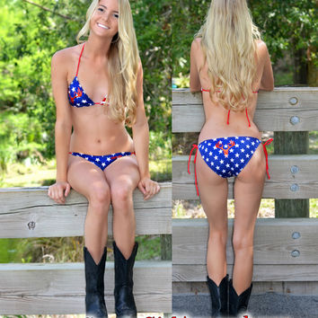 Sporty Girl Apparels American Flag american pride country girl red white and blue bikini