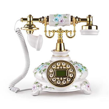 LNC White Flower LNC Retro Vintage Antique Style Push Button Dial Desk Telephone Phone Home Living Room Decor