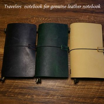 New genuine leather handcraft notebook travelers journal 7 colors have protect belt free engrave name school supplies notebook