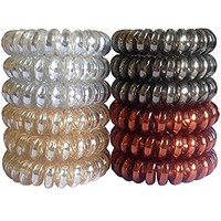 Elastic Hair Ties No Crease Spiral J-MEE 12 PCS Clear Plastic No Damage Hair Rubber Bands (Neutral Colors)