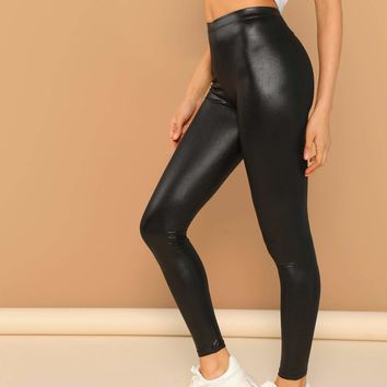 Faux Leather Liquid Stretch Leggings