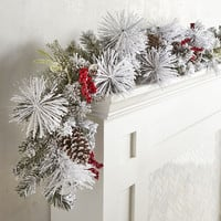 LED Pre-Lit Faux Snow-Dusted Pine Garlands