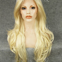 Long curly golden color wig. High quality synthetic color wig. Heat resistant wig.