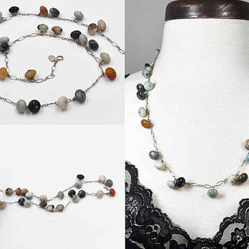 Vintage Sterling Silver & Agate Bead Necklace, Multi Color, Agate Rondelle, Beaded, Semi-Precious, Fancy Link Chain, Lovely! #c285