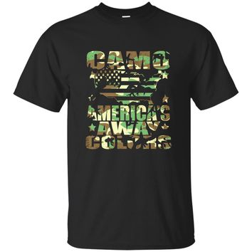 Camouflage America Get Away Color 4th Of July USA T Shirt_Olive