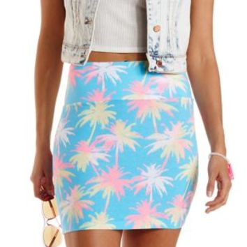 Multi Palm Tree Print Bodycon Mini Skirt by Charlotte Russe