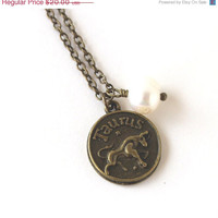 VALENTINES DAY SALE Taurus astrology zodiac star sign charm and white pearl antique bronze necklace