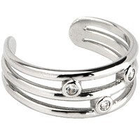 10k White Gold Cubic Zirconia Trio Band Toe Ring