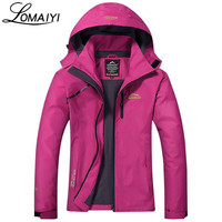 LOMAIYI Waterproof Women's Basic Jacket Coat Women 2017 Spring Winter Warm Rain Windbreaker Female Casual Hooded Jackets,AW022