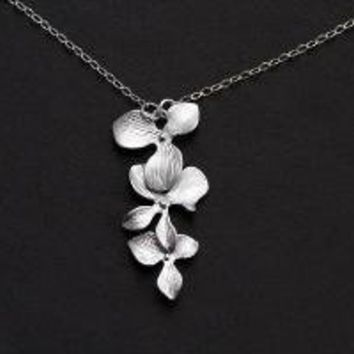 Orchid Flower Sterling Silver Necklace by zetem on Etsy