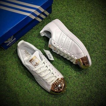 "LMFYN6 adidas Superstar Metal Toe Women Running Shoes ""Ftwr White / Copper Metallic� BY2882"