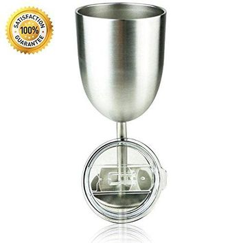 Stainless Steel Double Walled Wine Glass With Lid Insulated Tumbler wine glass 10oz