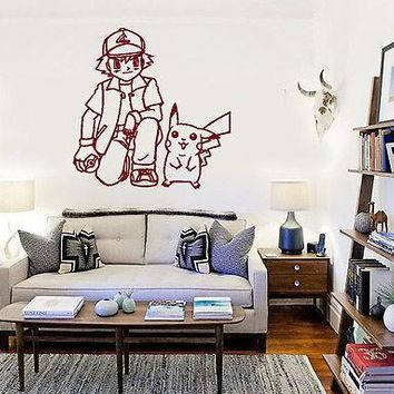 Wall Stickers Vinyl Decal Pokemon Pikachu Ash Ketchum Anime Cartoon Kids ig1111