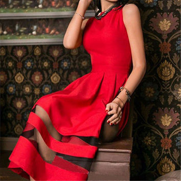 New Women Dress Spring 2017 Summer Sexy Vintage Mesh Patchwork Prom Maxi Party Dresses