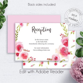 Rose Wreath Reception PDF, Blush Floral Reception, Editable Printable Reception Template, Details Card, Enclosure Card, Wedding Insert Cards
