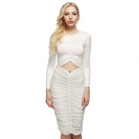 Sexy Fashion Women Long Sleeve Ruched Bodycon Party Club Dress