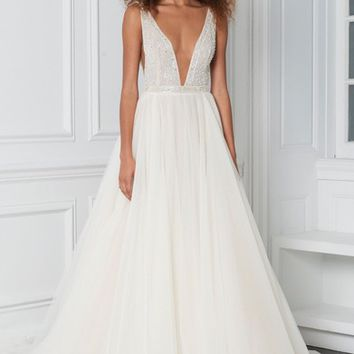 BLISS Monique Lhuillier Beaded Plunge Neck Ballgown | Nordstrom