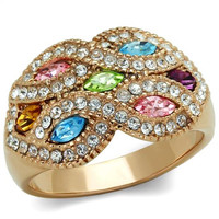 Multi Color Crystal Rose Gold Stainless Steel Ring