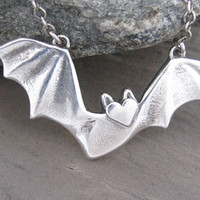 Bat Necklace,  Sterling SIlver Bat, Flying Fruit Bat, Large Bat