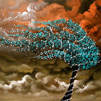 original tree painting blowing wind stars by mattsart on Etsy