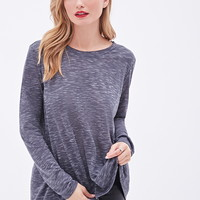 Heathered Chiffon-Paneled Slub Knit Top