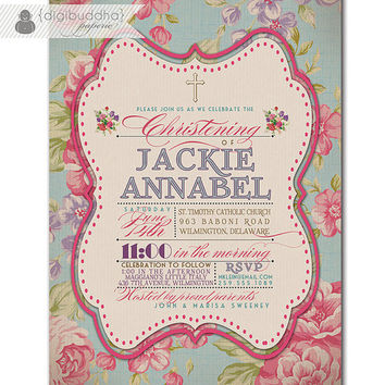 Baptism Invitation Vintage Rose Classic Christening Invite Baby Girl Typography Christian Cross DIY Digital or Printed - Jackie Collection