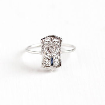 Antique Art Deco 10k White Gold Diamond & Simulated Sapphire Ring - Vintage 1920s Size 6 3/4 Blue Glass Stone Filigree Heart Fine Jewelry