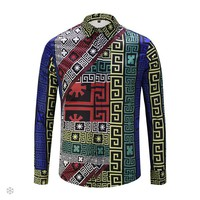 Versace 2018 new digital printing trend men's long-sleeved shirt