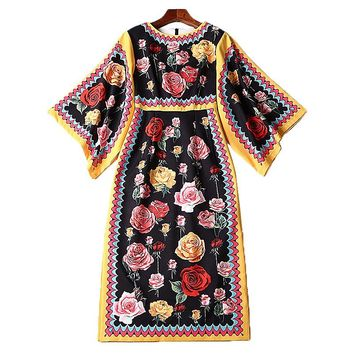 XF 2018 Bohemian Dress High Quality Fashion Designer Long Sleeve O-Neck Party Spell Batwing Sleeve Court Vintage Print Dress