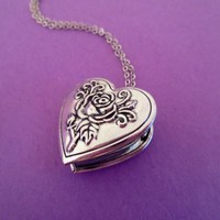Silver, Rose, Heart, Locket, Photo, Necklace