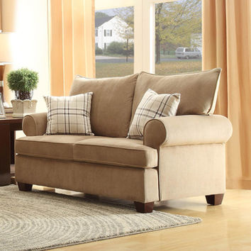 Homelegance Talullah Loveseat in Brown Microfiber