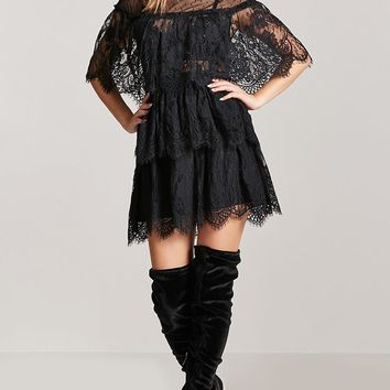Tiered-Eyelash Lace Dress