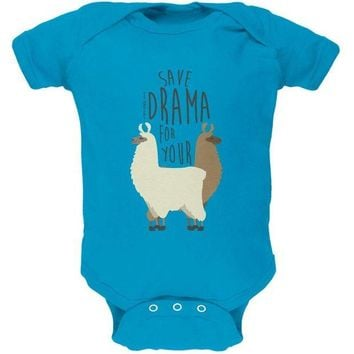DCCKJY1 Save the Drama for Your Llama Pun Soft Baby One Piece