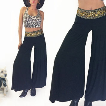 Vintage 1970's GYPSY Gold Dust Woman Stretch Black Bell Bottoms || Festival Pants || Elephant Palazzo Bellbottoms Boho Hippie Size Medium